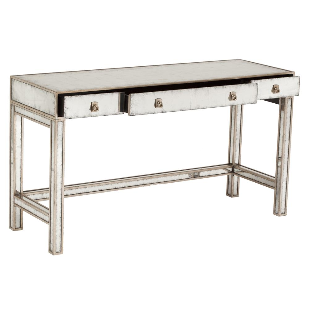 John Richard Joelle Hollywood Regency Silver Leaf Mirror 3 Drawer Vanity Table Desk Kathy