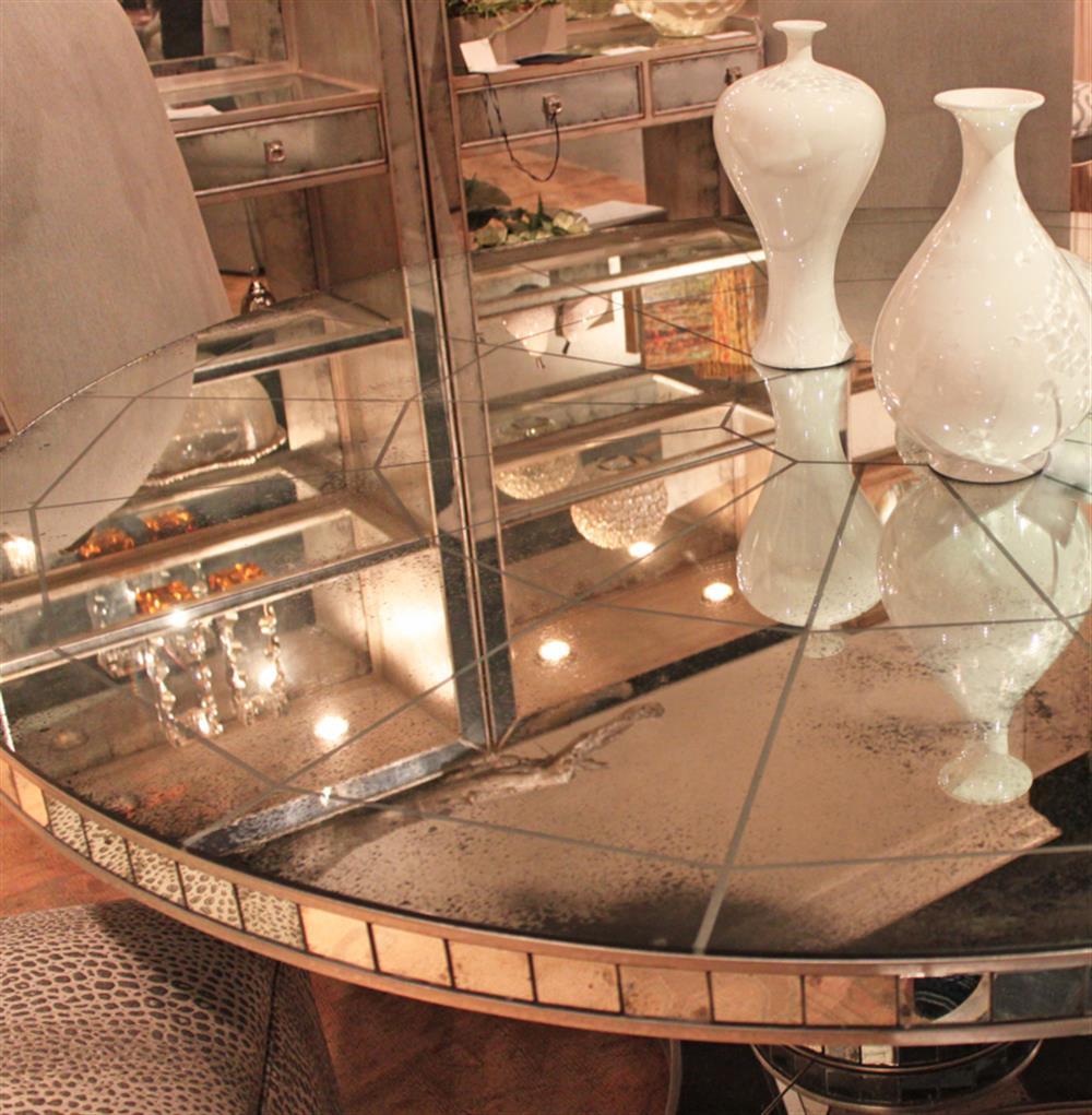 Millie Hollywood Regency Antique Mirror Silver Round