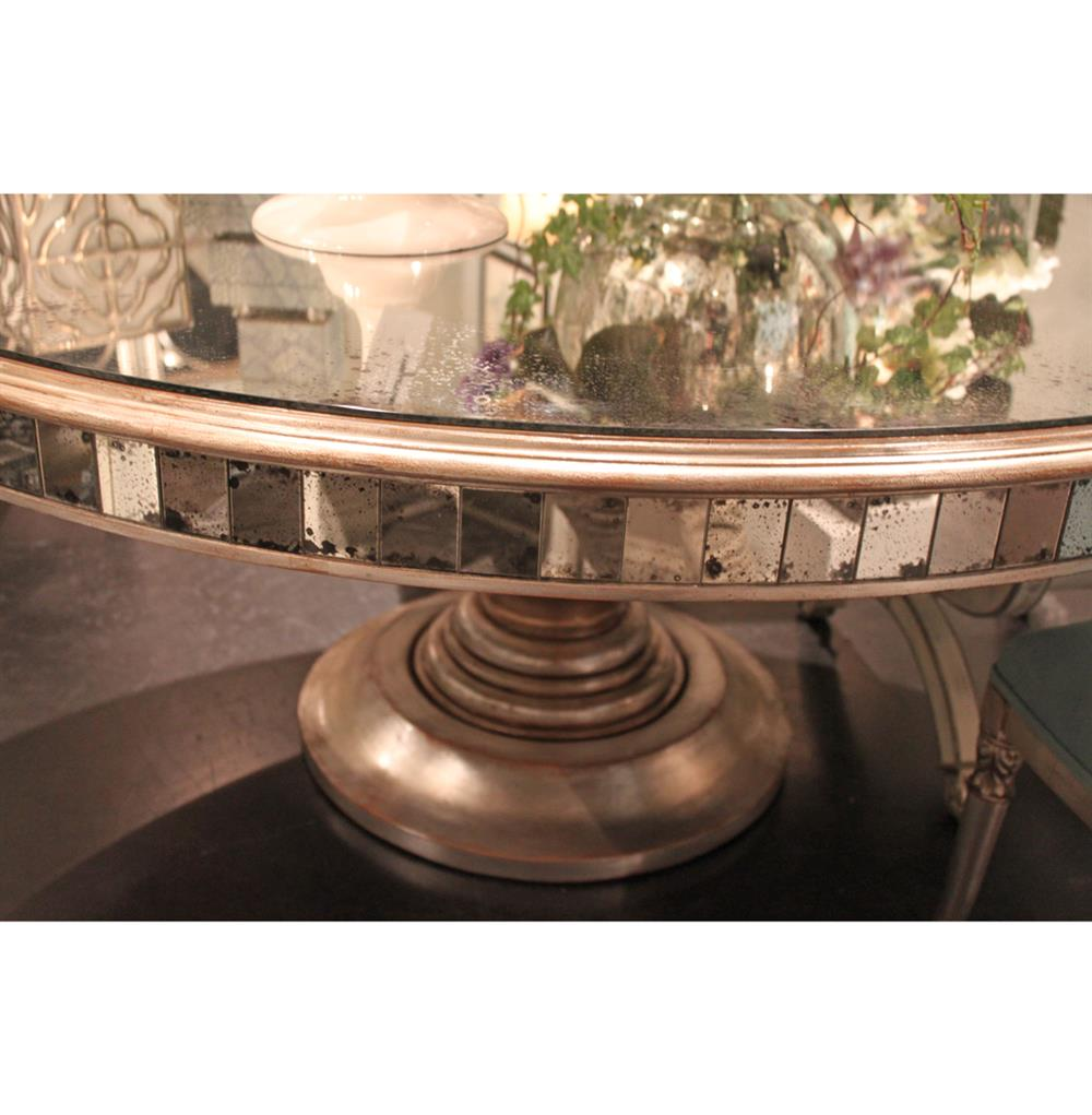 Regency Champagne Antique Mirror Round Dining Table Kathy Kuo Home
