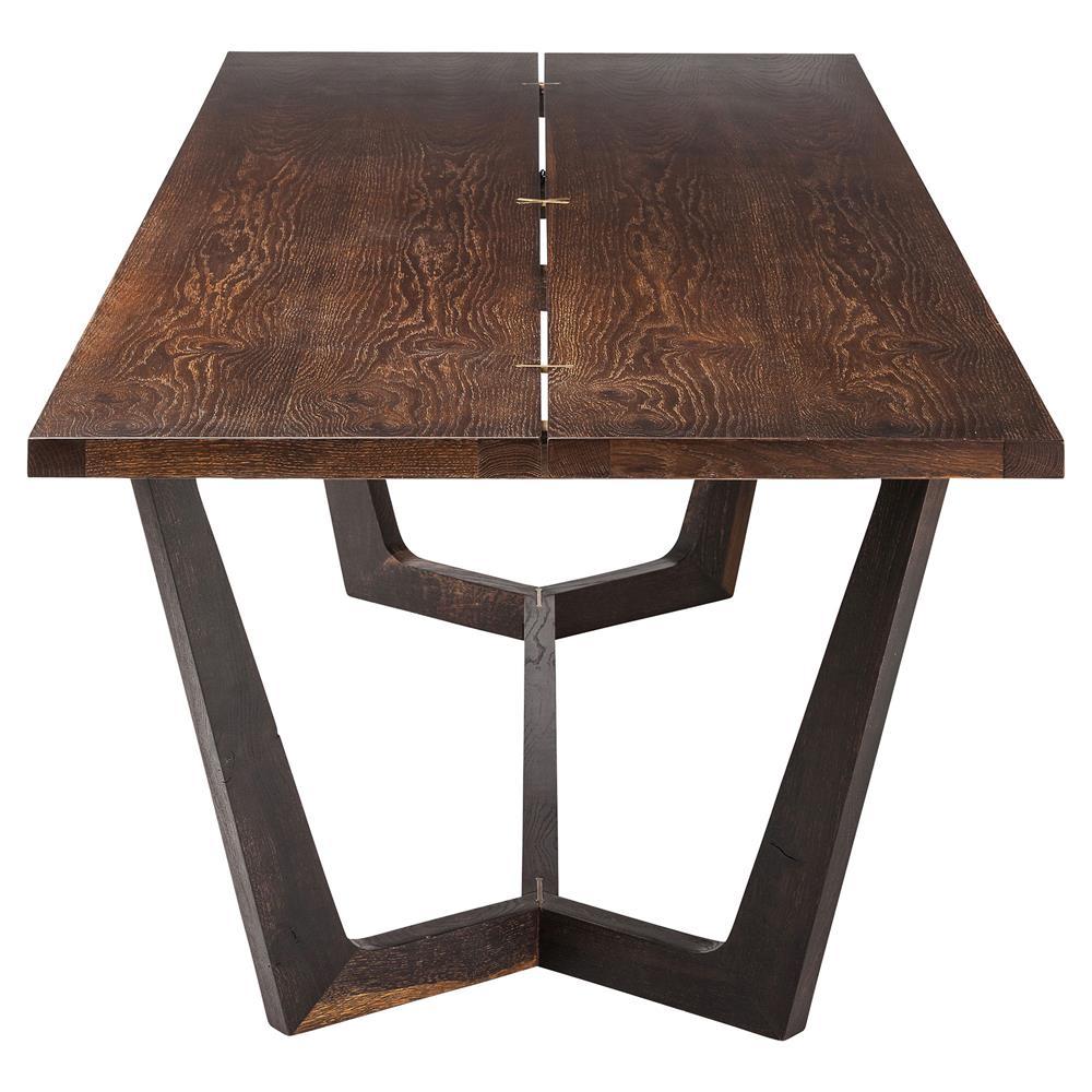 Jaxon Industrial Loft Rustic Burnt Oak Wood Dining Table