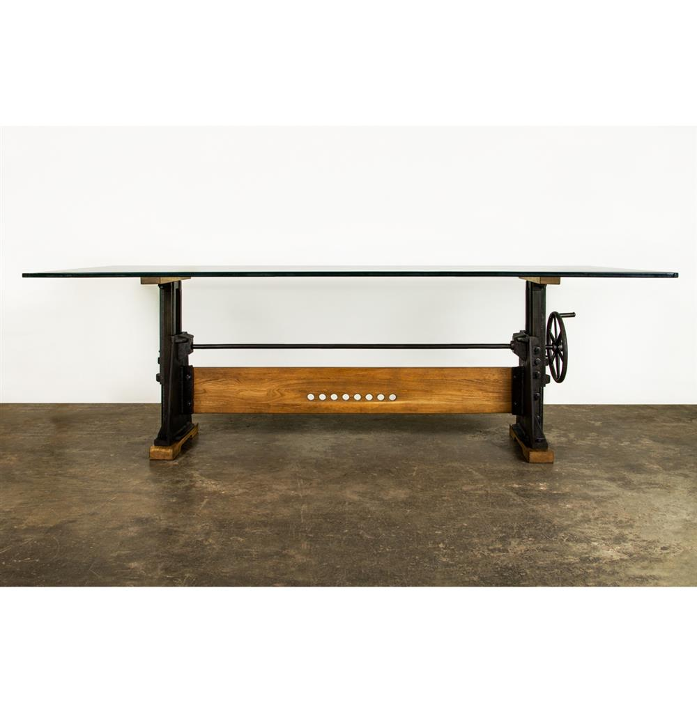 Dogtown Industrial Loft Cast Iron Glass Dining Table Kathy Kuo Home
