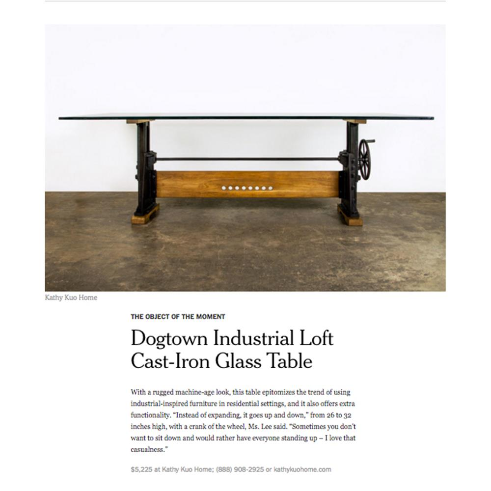 Dogtown industrial loft cast iron glass dining table kathy kuo home geotapseo Image collections