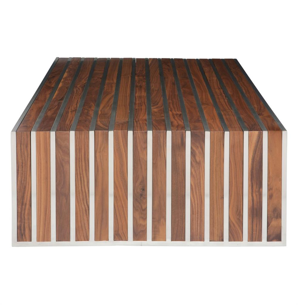 Stainless Steel And Wood Coffee Table: Holden Stainless Steel Walnut Wood Slatted Modern Coffee Table