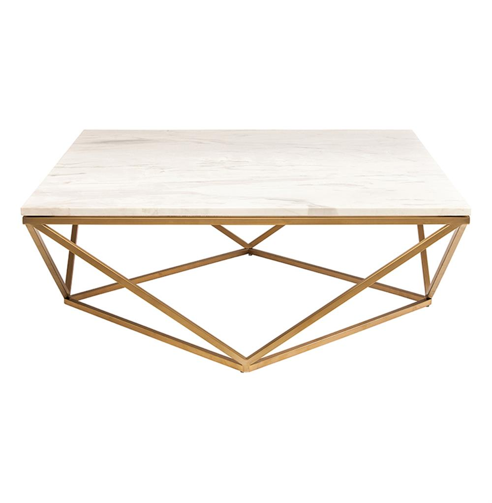 White Marble Top Coffee Table Rectangle: Rosalie Hollywood Regency Gold Steel White Marble Coffee Table