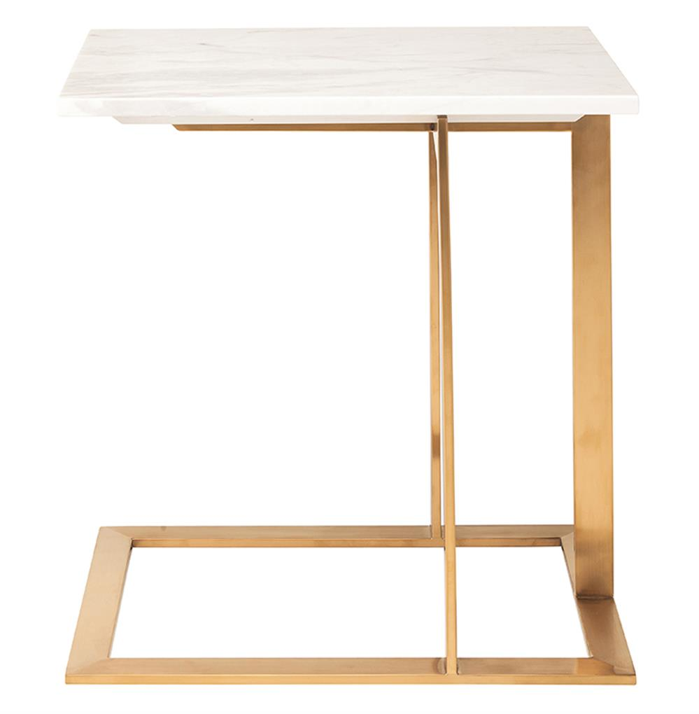 rosalie hollywood regency gold steel white marble side end. Black Bedroom Furniture Sets. Home Design Ideas