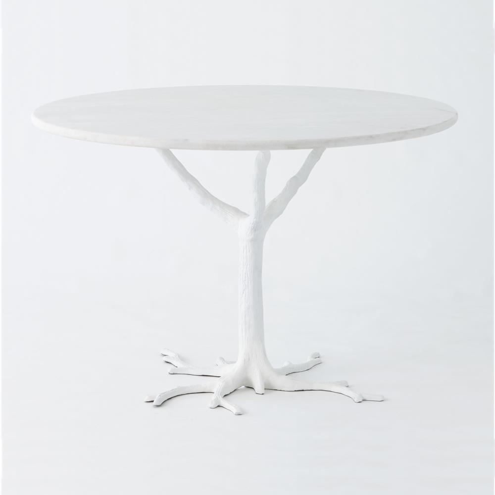 Bijou Global Bazaar White Tree Branch Iron Marble Petite Dining