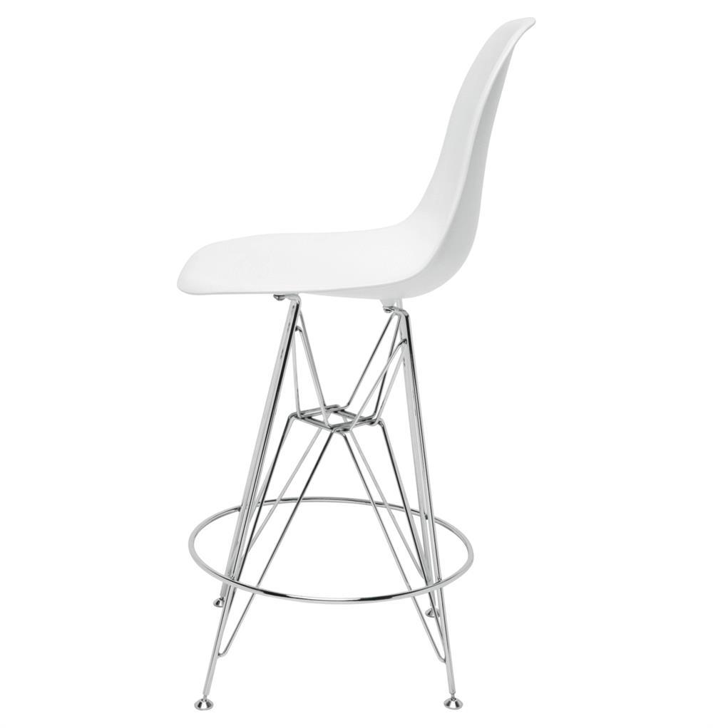 Eiffel reproduction white plastic chrome frame modern counter stool pair kathy kuo home - Witte plastic stoel ...