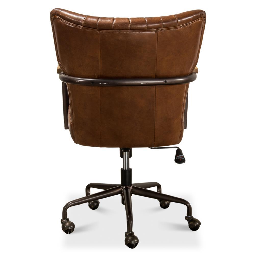 Eleanor Mid Century Modern Brown Leather Metal Base Swivel ...