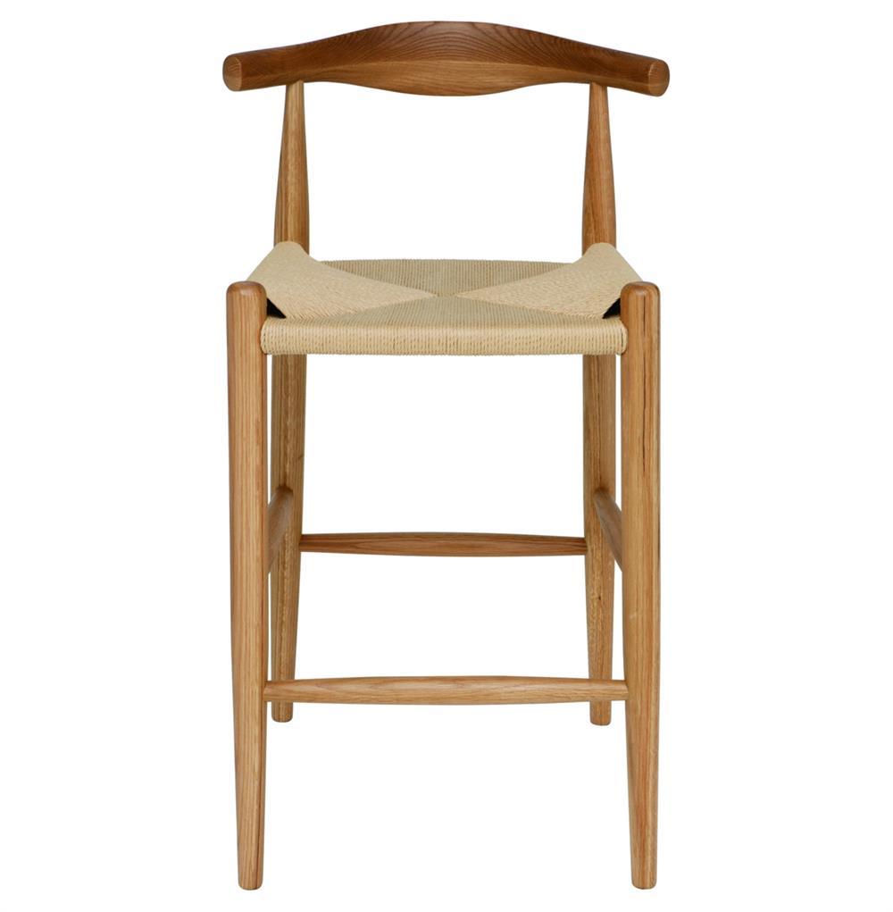 Quinn American White Oak Modern Rattan Seat Counter Stool