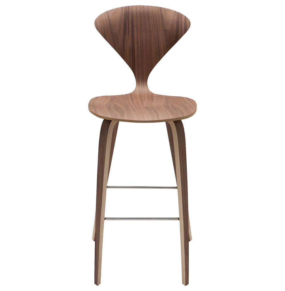 Modern Wood Bar Stools ~ Regan american natural walnut modern molded wood counter