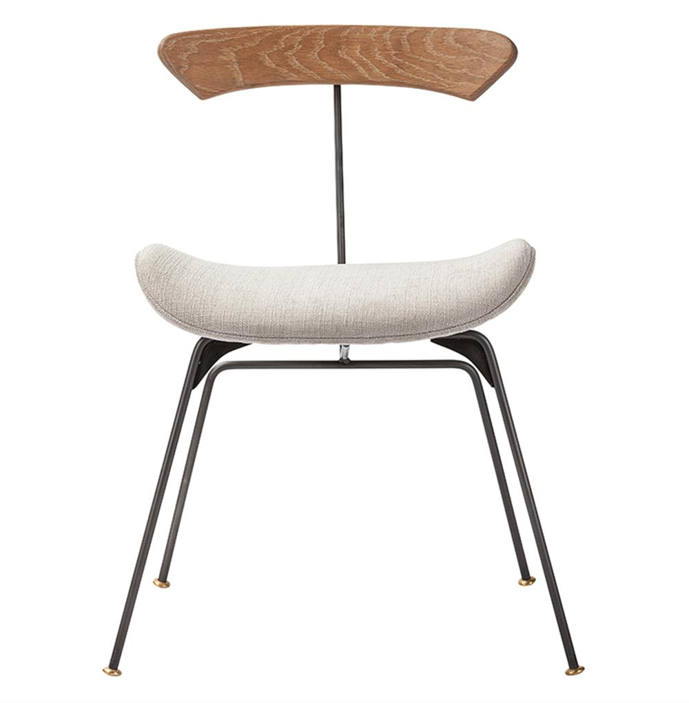 Lewis Modern Raw Oak Grey Fabric Upholstered Dining Chair  Kathy Kuo ...