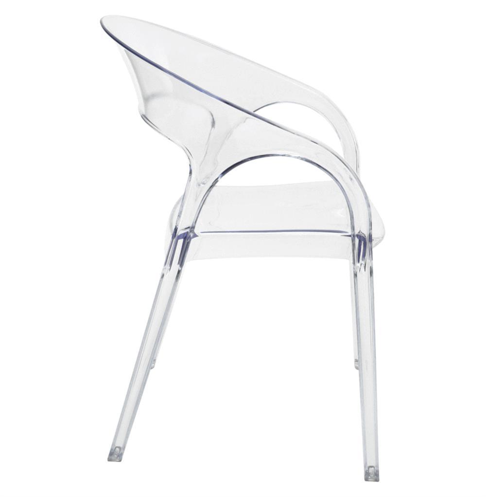 Global Views Acrylic Chair: Kessler Modern Round Back Acrylic Clear Dining Chair