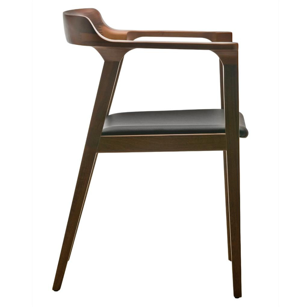 katelyn mid century modern brown walnut leather dining arm chair  -  full size