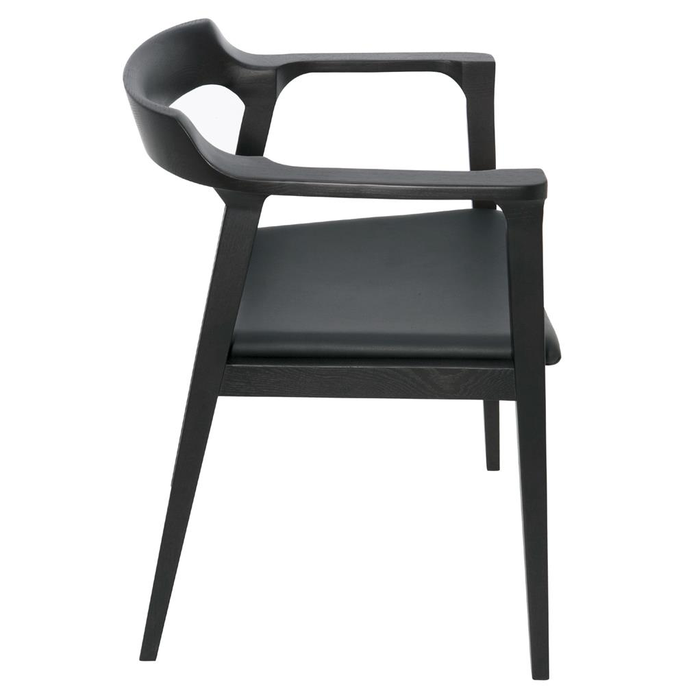 Katelyn mid century modern black oak leather dining arm for Modern black dining chairs