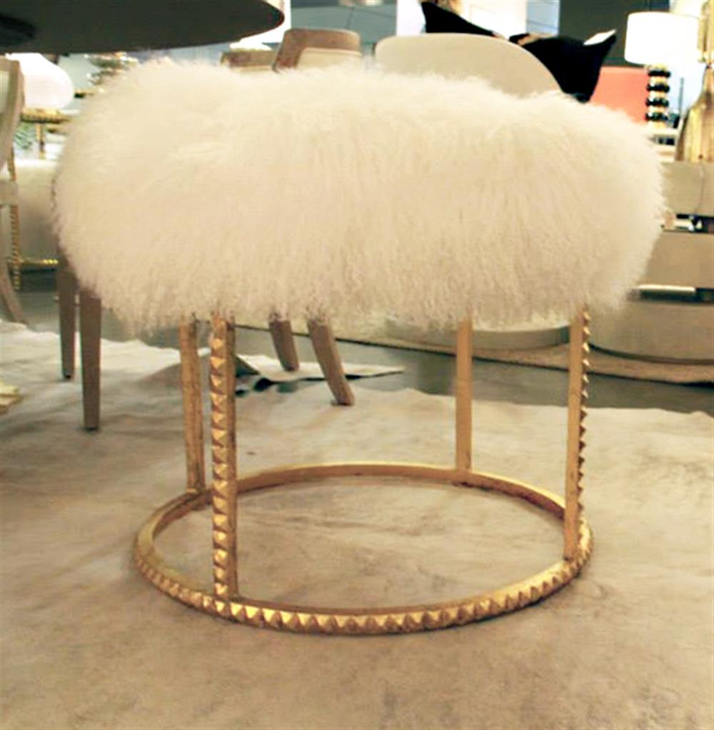 Pom Pom Hollywood Regency White Lamb Gold Studded Pouf Ottoman ...
