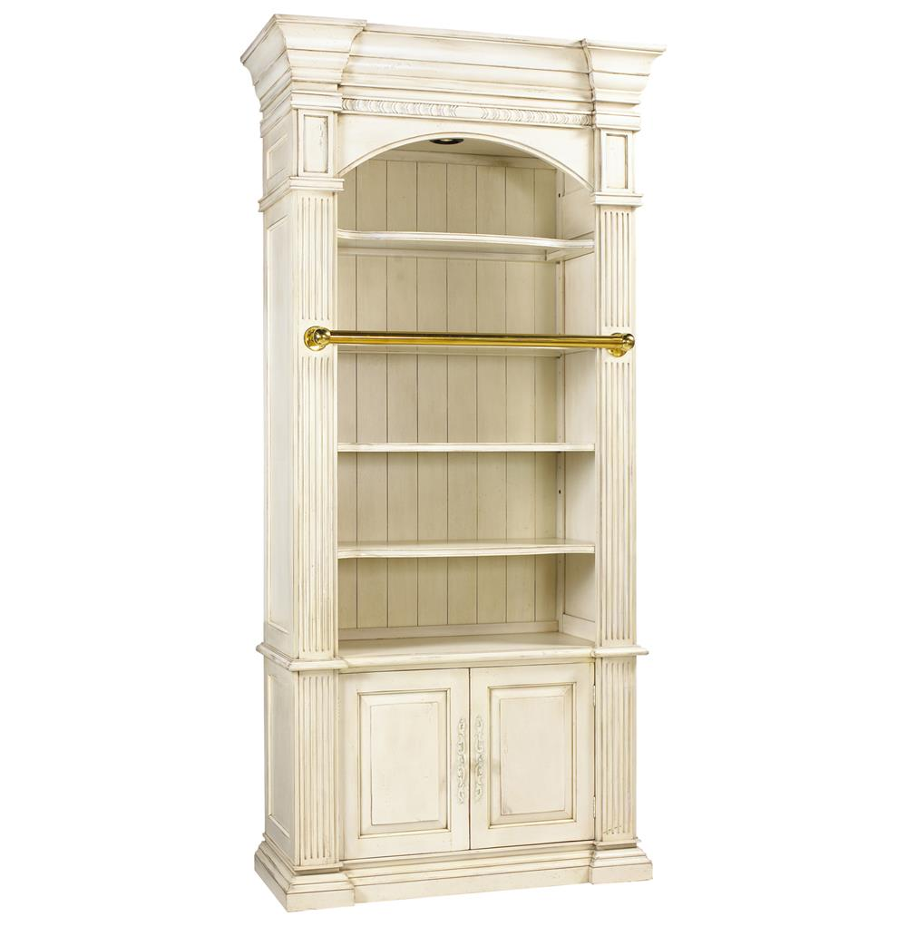 Percier French Country White Single Library Bookcase with Ladder | Kathy Kuo Home