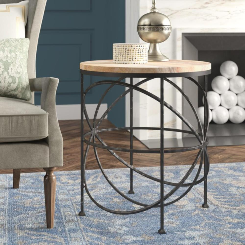 Alchemy Rustic Industrial Loft Wood Iron Orbit Round Side Table