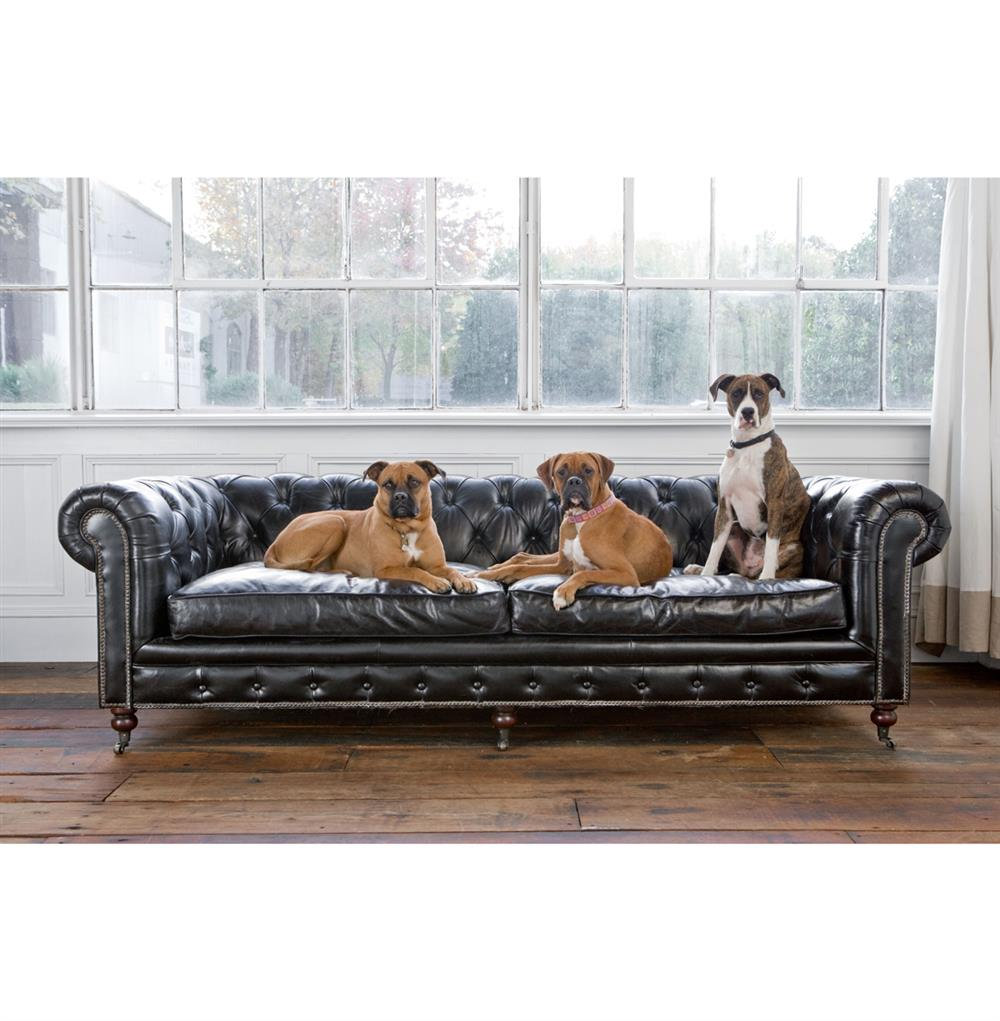 Ace Industrial Loft Black Leather Tufted Deep Seat Sofa