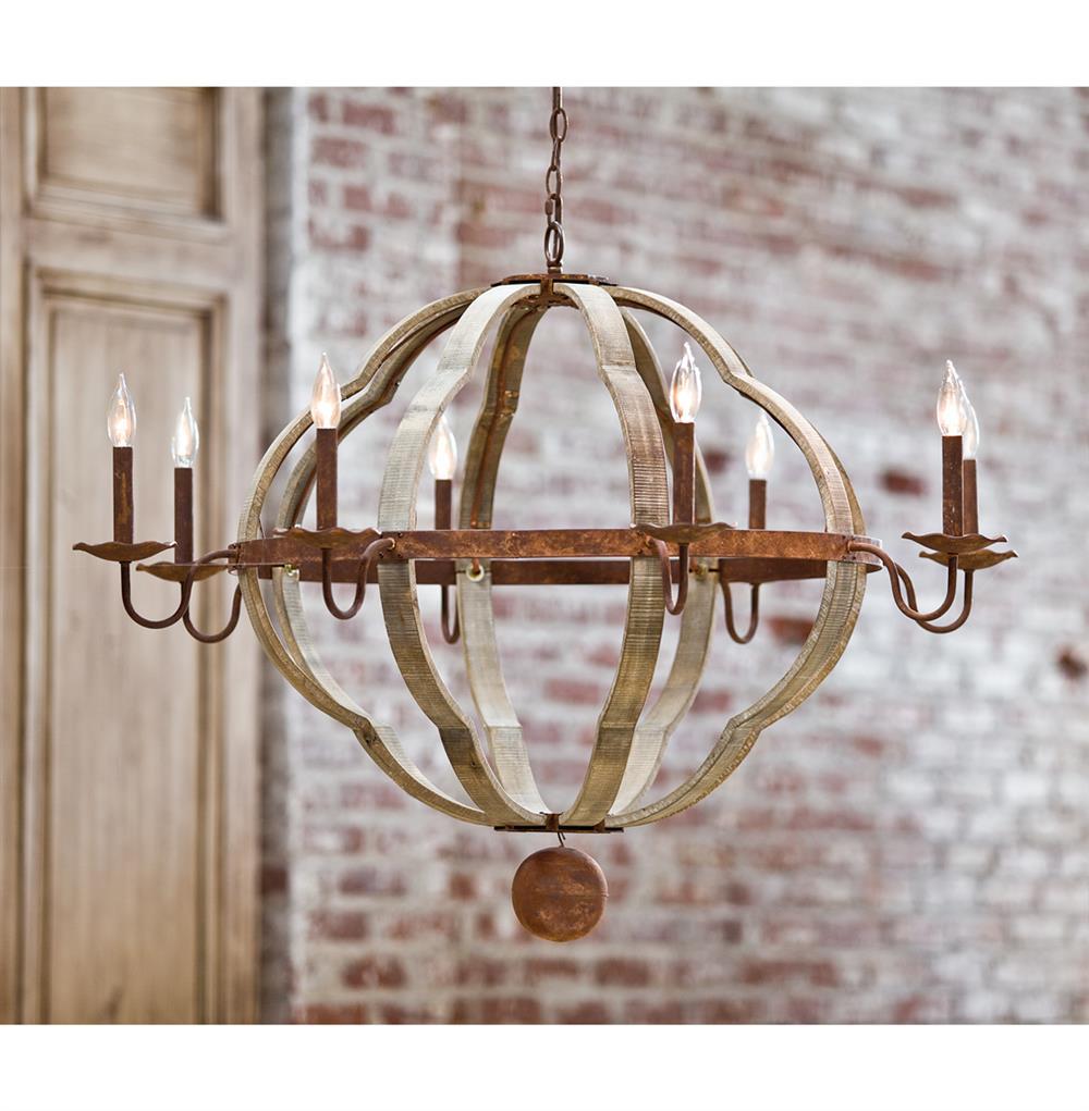 Redford rustic lodge wood 8 light quatrefoil chandelier for Wood chandelier lighting