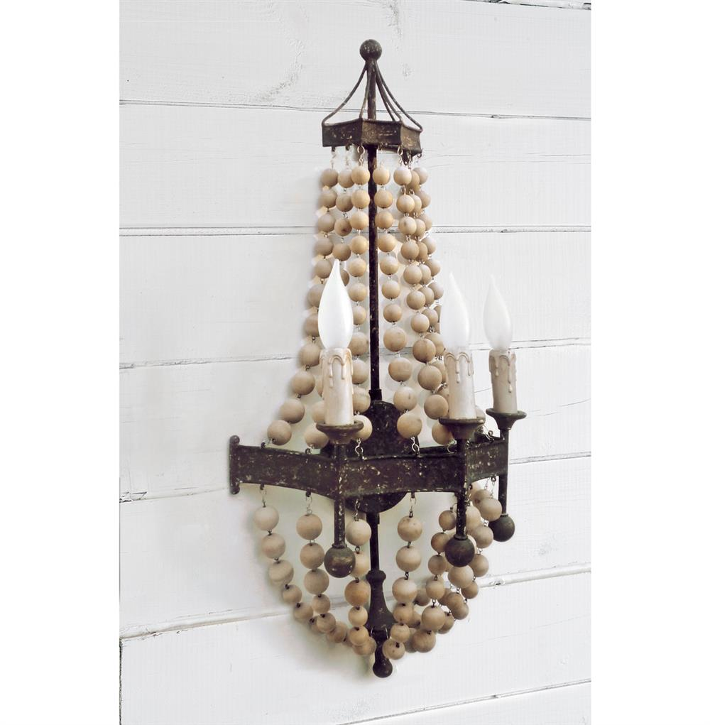 Skyrim Wall Sconces Not Working: Maroma Coastal Beach Scalloped Wood Bead Metal Sconce