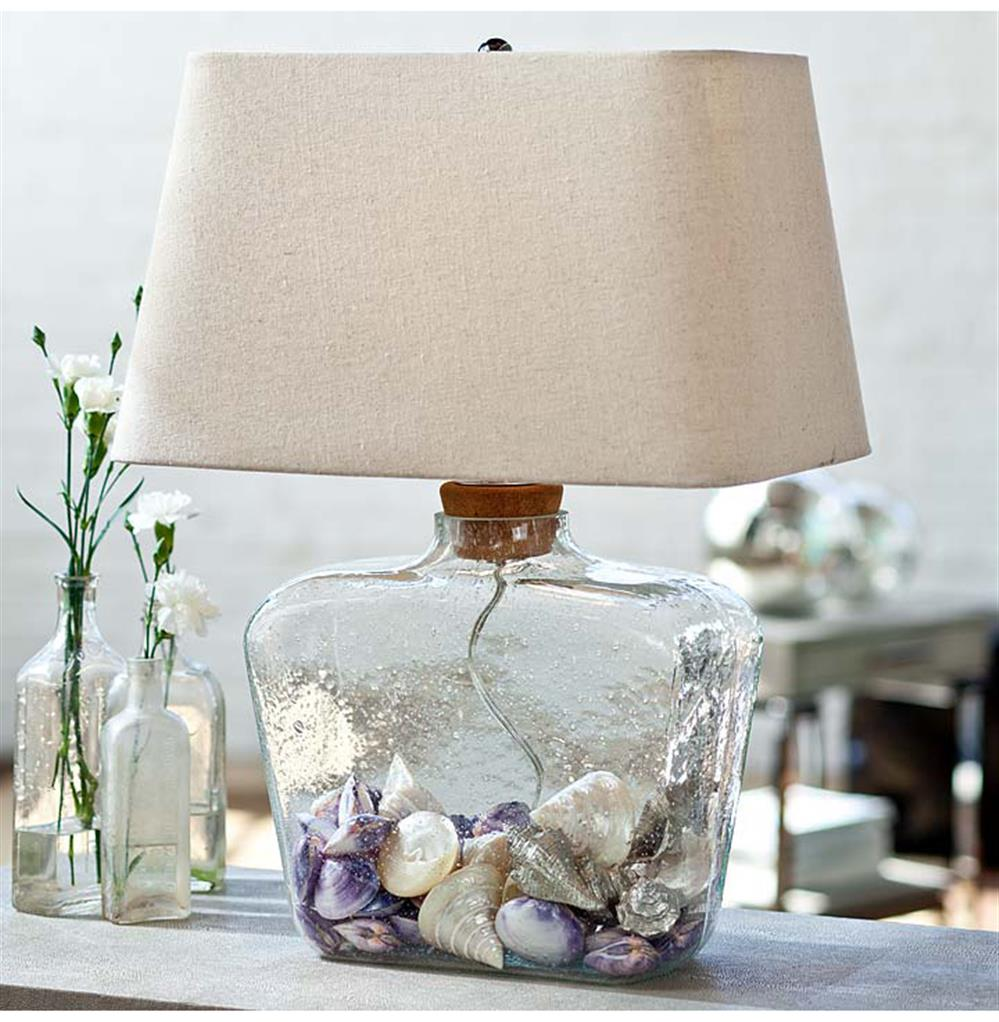 Sea Lamps: Odessa Coastal Beach Glass Fillable Bottle Table Lamp