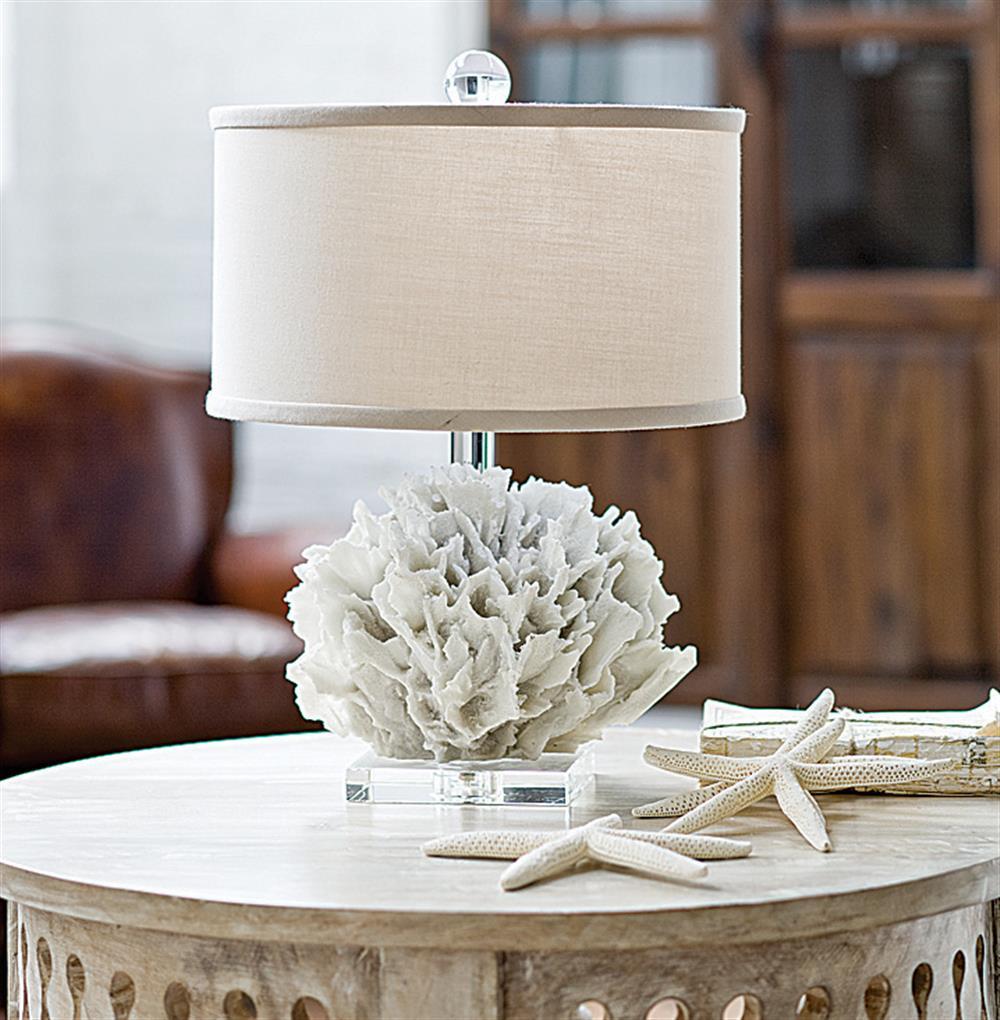 Sandestin Coastal Beach White Ribbon Coral Crystal Table Lamp