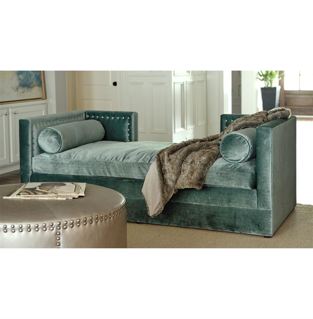 collette hollywood regency moss blue velvet daybed sofa kathy kuo home
