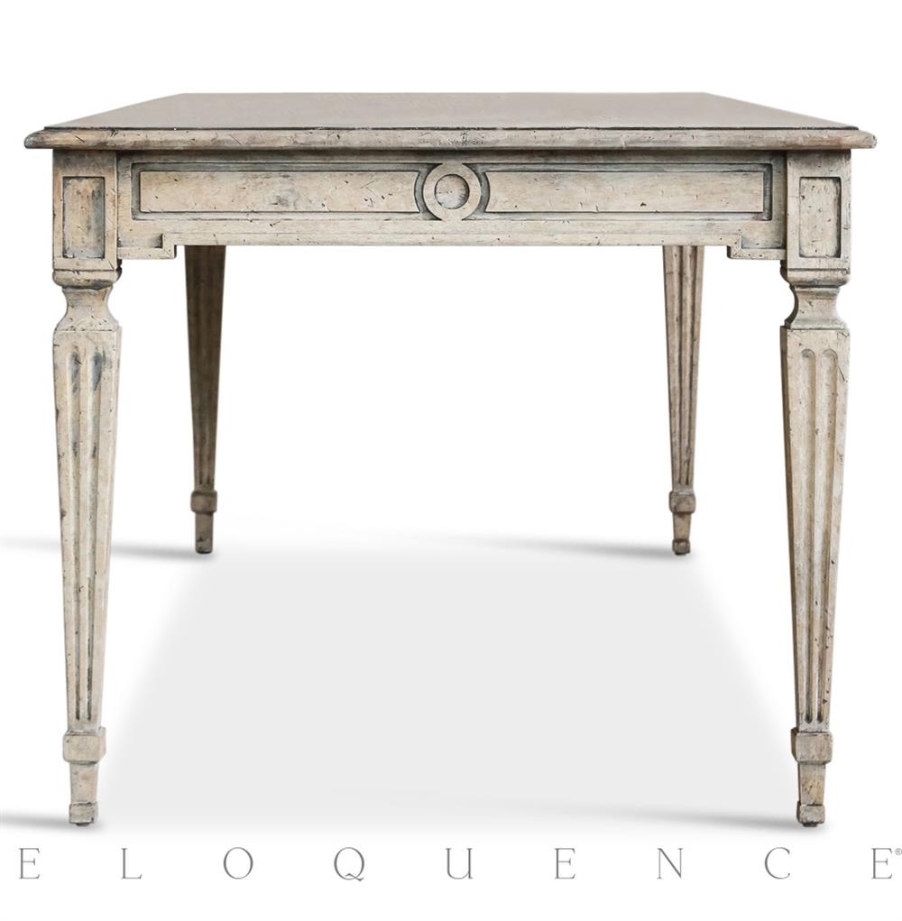 Eloquence® Gustavian Dining Table In Oak Driftwood | Kathy Kuo Home