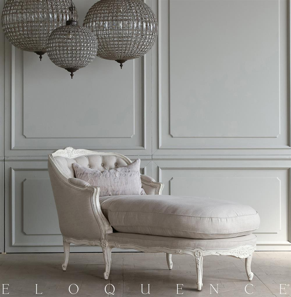 Eloquence Louis Chaise In Antique White Kathy Kuo Home