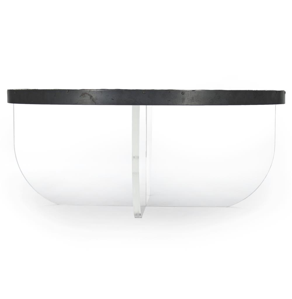 Acrylic Coffee Table Top: Blaine Modern Acrylic Zinc Top Round Coffee Table