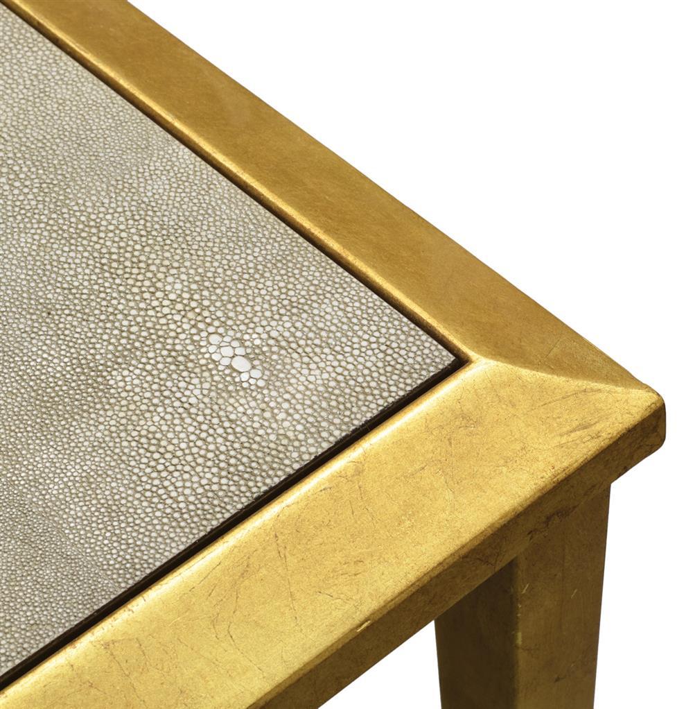 Palecek Oxford Hollywood Regency Faux Shagreen Gold Console Table ...