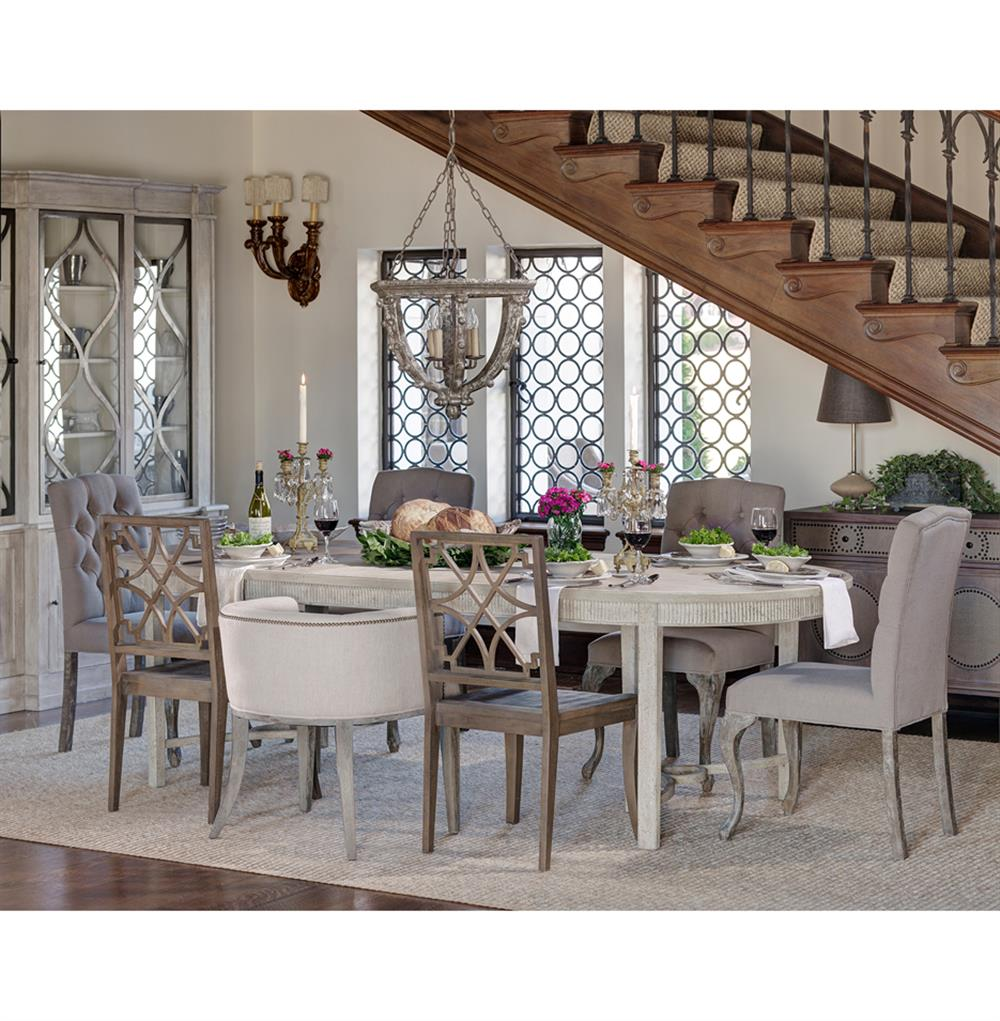 French country gray dining room - Whitlock French Country 1 Leaf Extendable Oak Dining Table Kathy Kuo Home