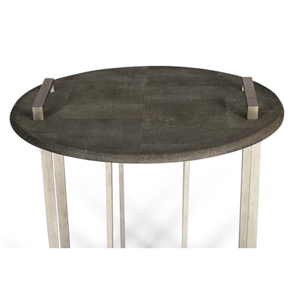 Jansen hollywood regency grey faux shagreen iron tray side for Tray side table