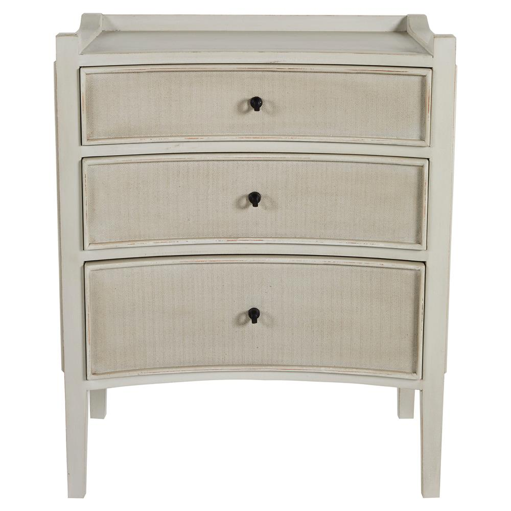 Janice French Country Wood Concave  Drawer Nightstand Kathy Kuo - French country nightstand