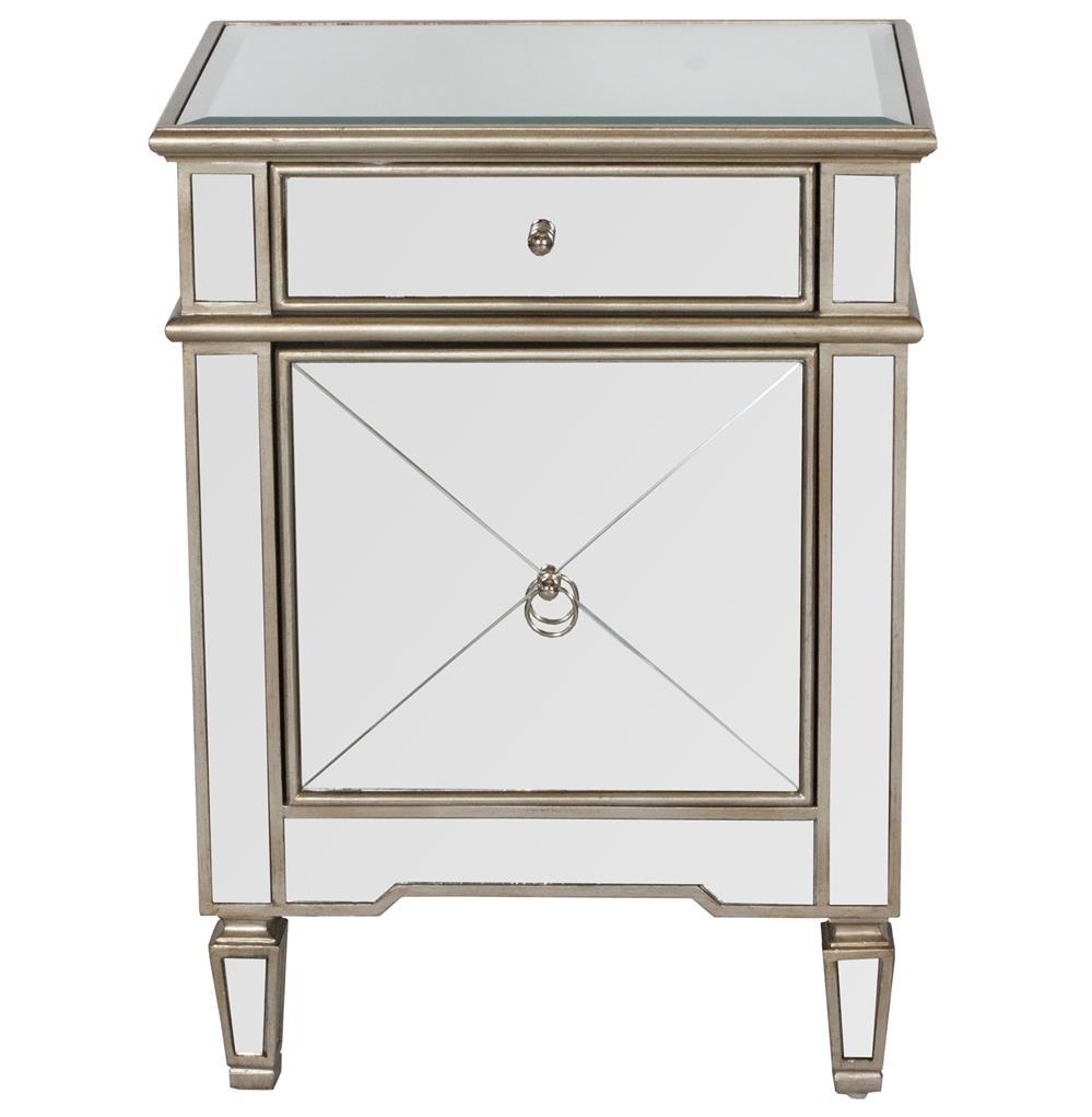 Sloane hollywood regency silver mirror nightstand kathy for Mirror nightstand