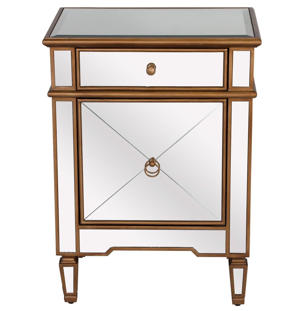 Sloane hollywood regency gold mirror nightstand kathy for Mirror nightstand