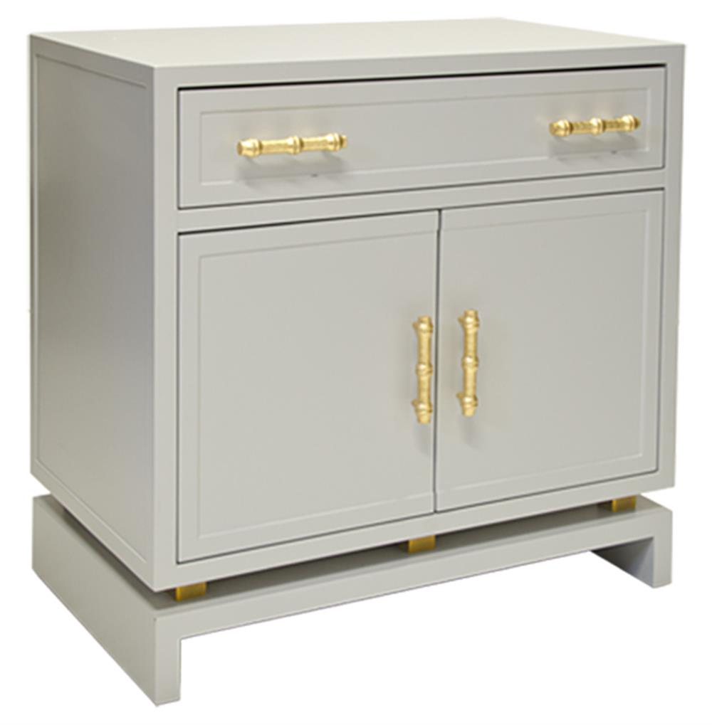 Tracey Hollywood Regency Grey Lacquer Nightstand Cabinet