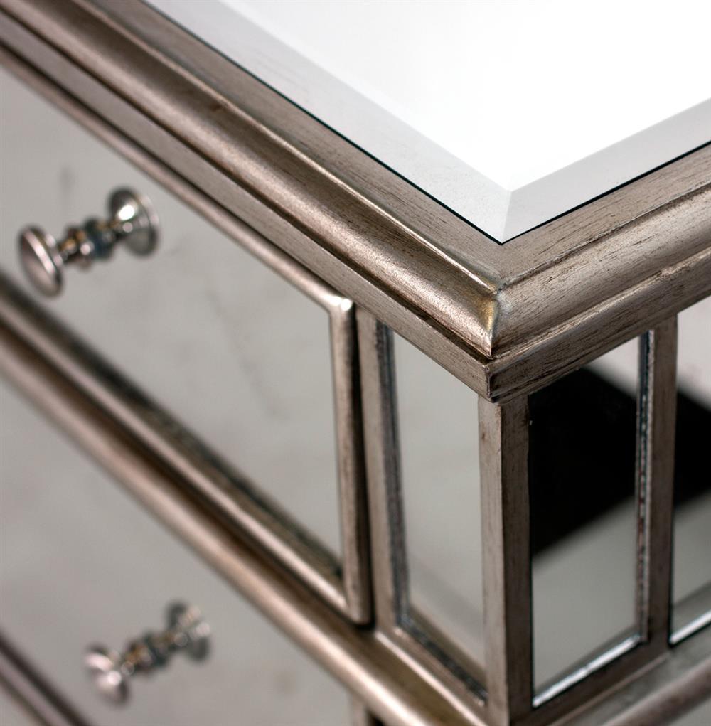 Harlowe Hollywood Regency Silver Pewter Wood Mirrored Dresser Kathy Kuo Home