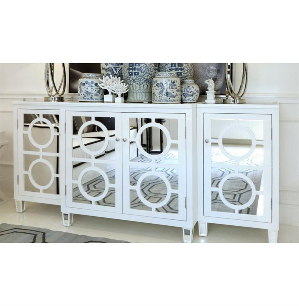 Malta Global Bazaar White Lacquer Mirror Buffet Sideboard