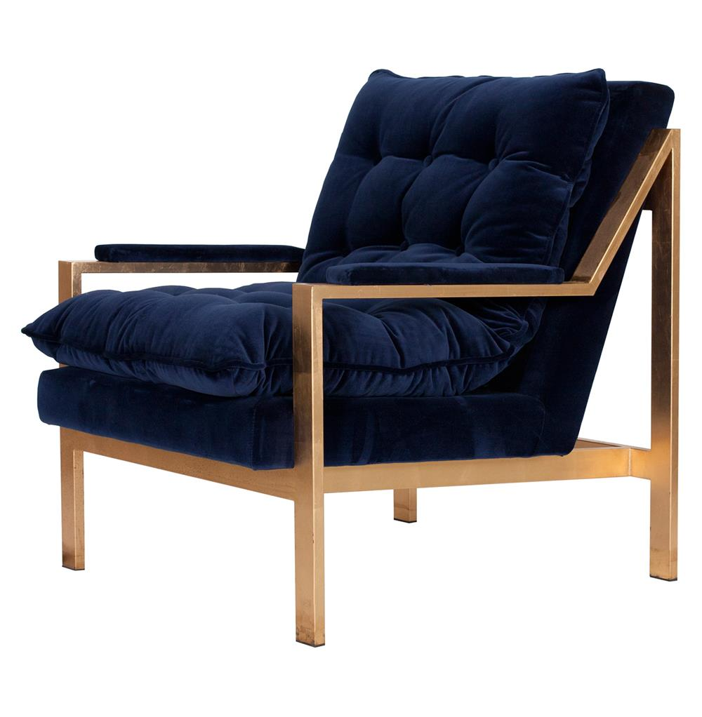 Cumulus Hollywood Regency Navy Blue Velvet Gold Arm Chair