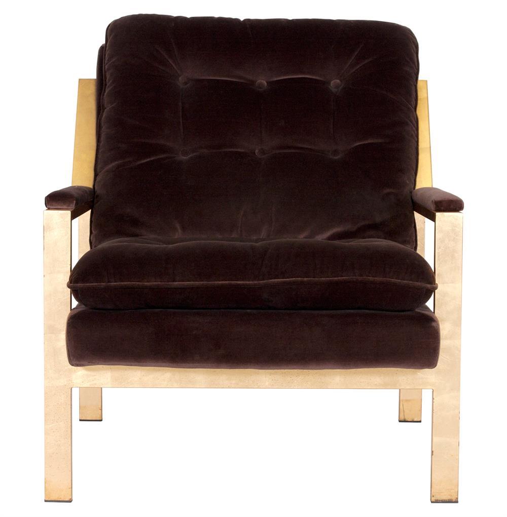 cumulus regency brown velvet gold arm chair