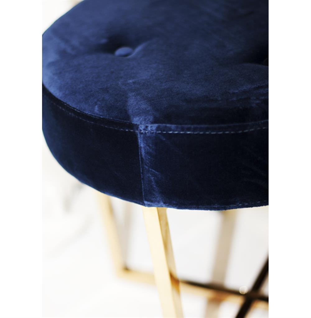 Lovely Charlize Hollywood Regency Navy Blue Velvet Tufted Gold Stool Ottoman MN17