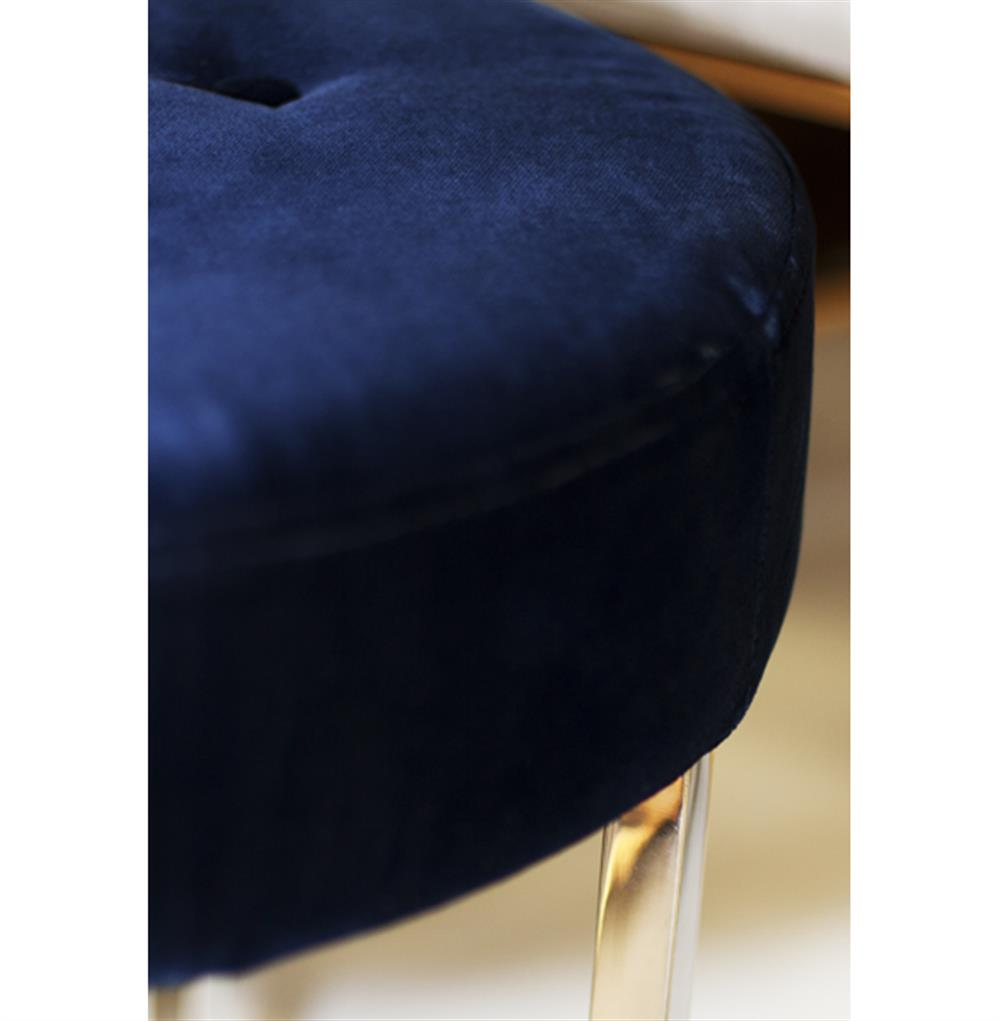 Charlize hollywood regency navy blue velvet tufted nickel for Navy blue chair and ottoman