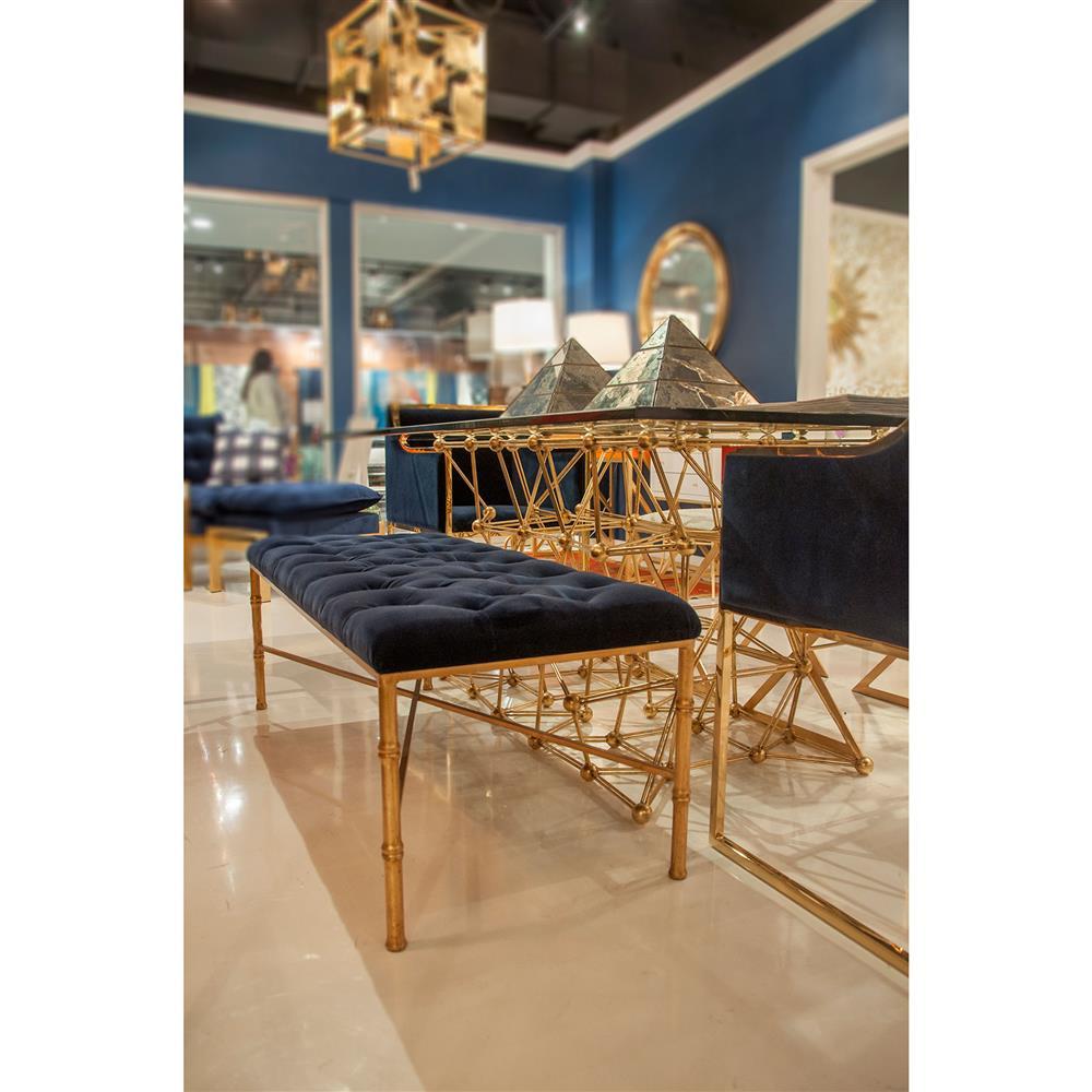 Gamine Hollywood Regency Gold Bamboo Navy Blue Velvet Bench