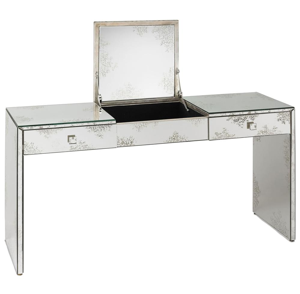 Sabina antique mirror hollywood regency vanity console for Salon table and mirror
