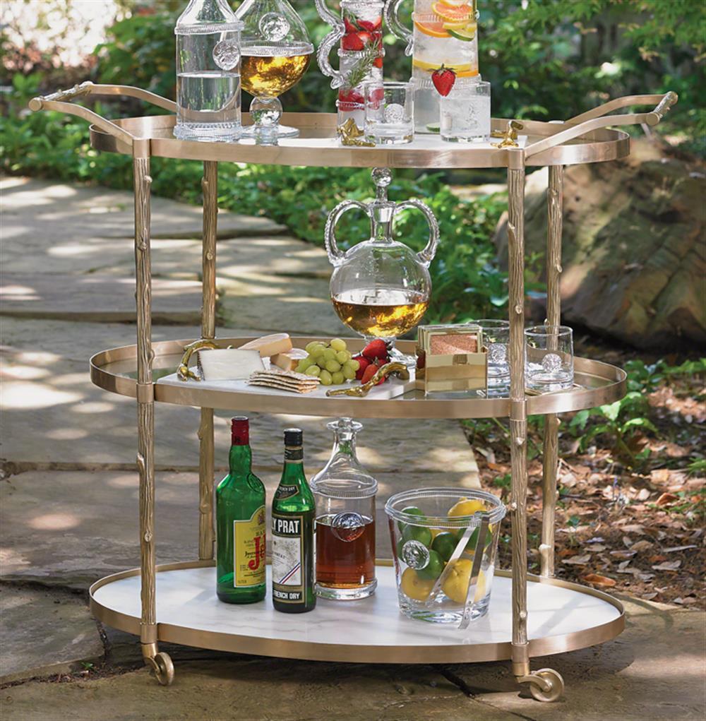 Vineyard Hollywood Regency 3 Shelf Brass Bar Cart Kathy