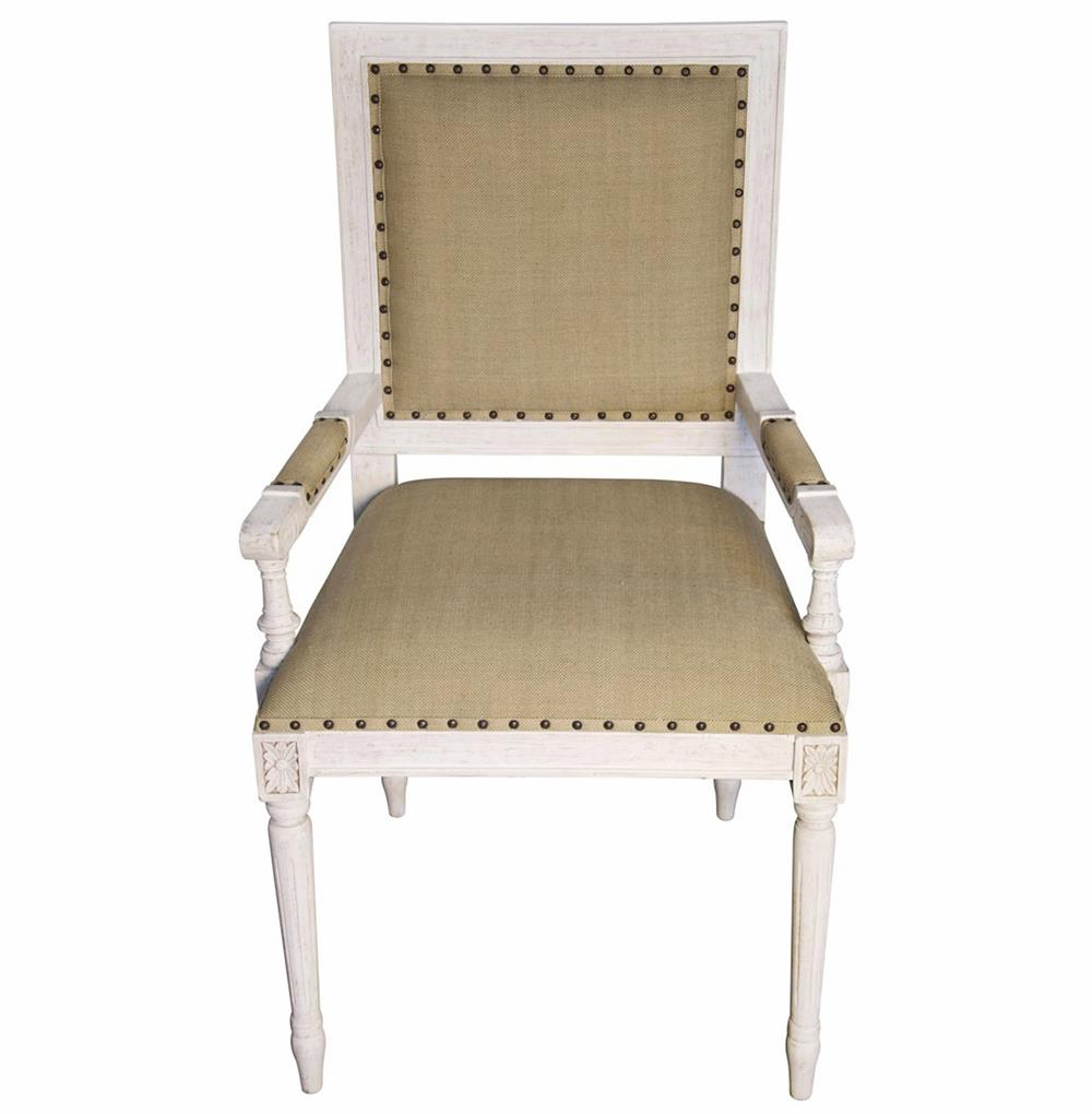Brittany french country white wash wood arm chair kathy