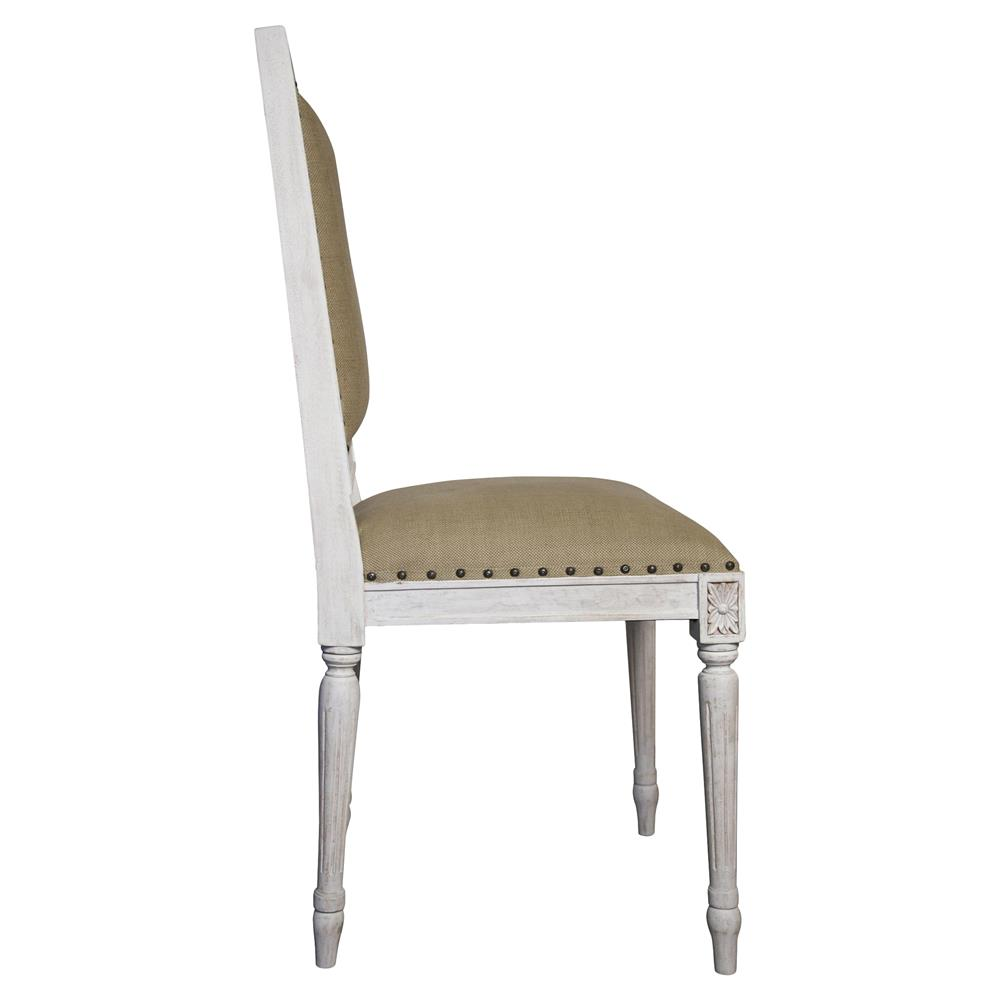 Brittany french country white wash wood side chair pair for French country white
