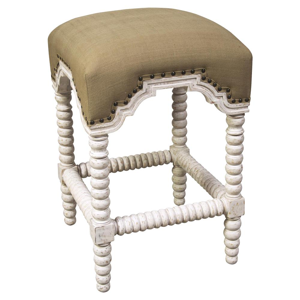 Ansel french country linen white wash bobbin counter stool for French country white