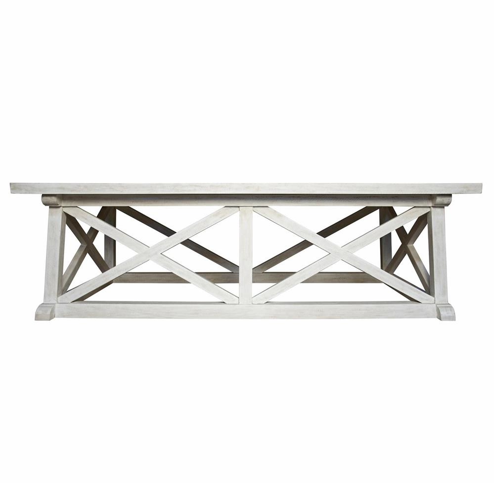 Luc Coastal Beach White Wash Coffee Table Kathy Kuo Home